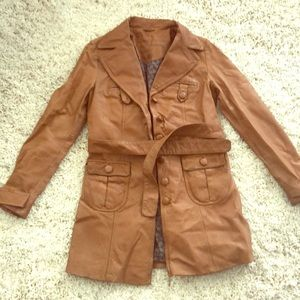 Vintage leather trench cognac color